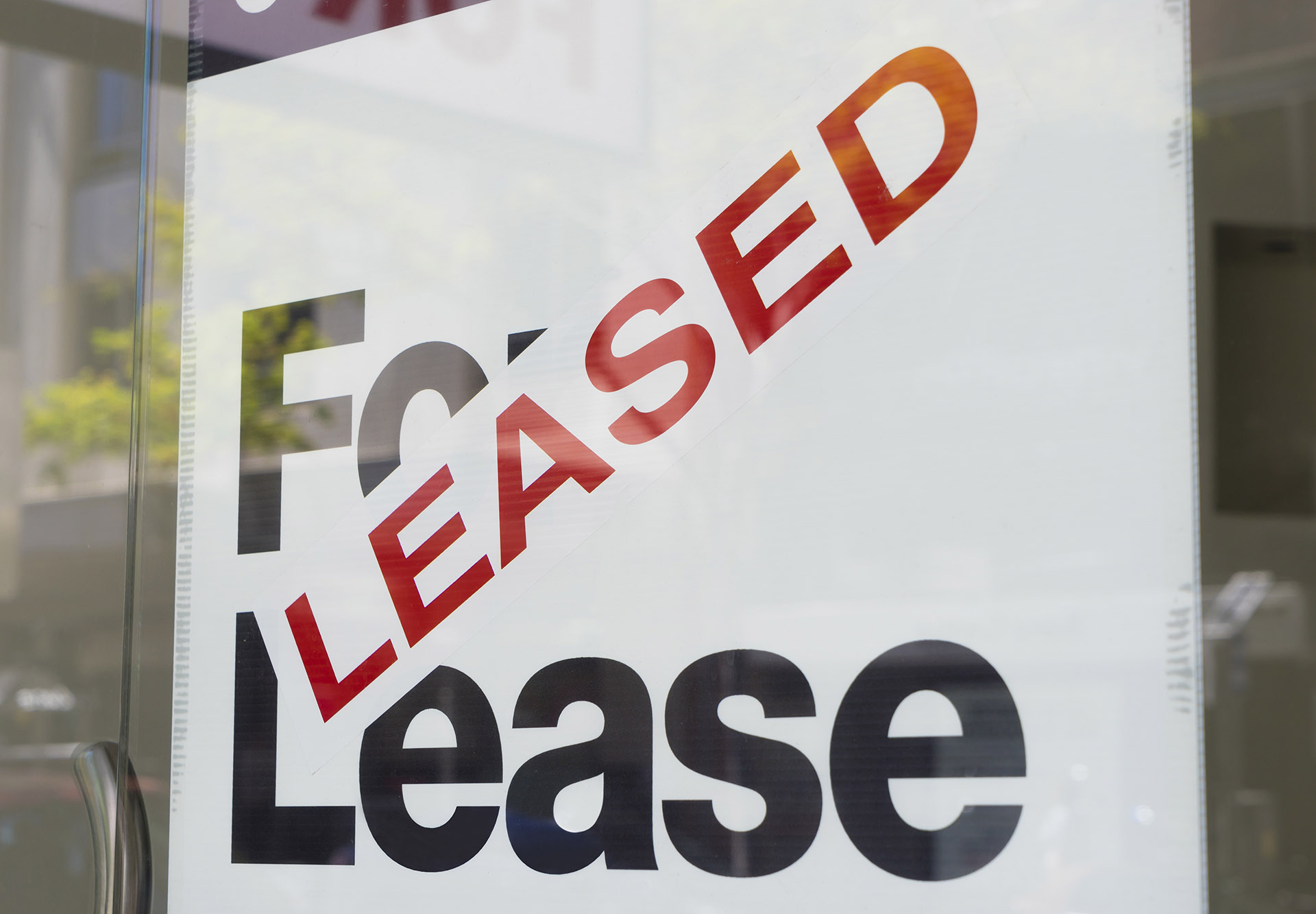 For lease and leased sign