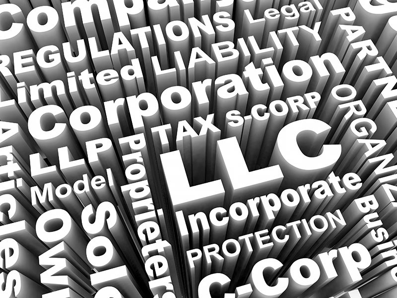 LLC LLP S- C-Corp Business Types Models Words 3d Illustration